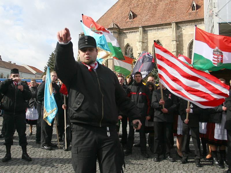 Csibi Barna egy kolozsvári felvonuláson. Fotó: ziuadecj.realitatea.net