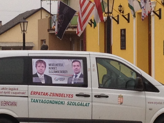Erpatak farm agency truck with Jobbik posters